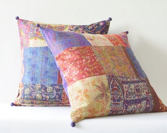 Set of 2 Patchwork Vintage Kantha Pillow Covers , Hand Stitched Vintage Kantha Pillow Covers , Sari Cushion, Vintage Kantha Cushion Covers