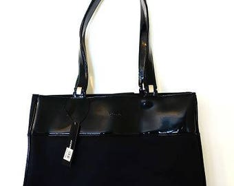 Vintage DKNY black patent shoulder bag, designer black office tote bag, wear to work bag