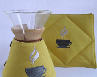 Chemex Cozy and Warming Pad Set- Durable Duck Cloth -Goldenrod/Gray-6 cup wooden collar-kitchen decor-couples gift
