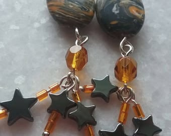 Fun And Funky Turkish Turquoise And Hematite Star Earrings // Long Dangly Orange And Black Earrings //  Boho Earrings // Gift For Her