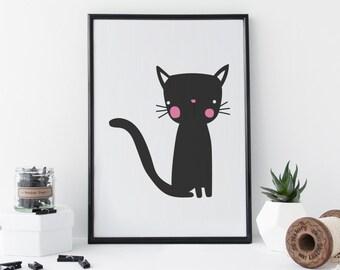 Black Cat Print - Cat Art - Animal Art - Nursery Wall Art - A4 Art Print - Black And White Art - Minimal Art - Home Decor - 8 x 11 Print