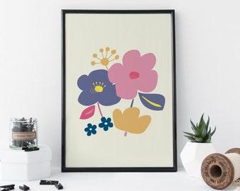 Modern Floral Print - Flower Art - Flower Print - A4 Art Print - Minimal Art - Home Decor - 8 x 11 Print