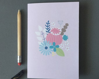 Small A5 Notebook - Pocket Notebook With A Pretty Floral Print - Cute Stationery Gifts
