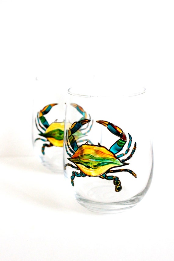 Hand Painted Wine Glasses, Maryland Blue Crab, Stemless Wine Glasses,