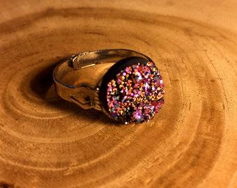 Magenta Druzy Crystal Ring