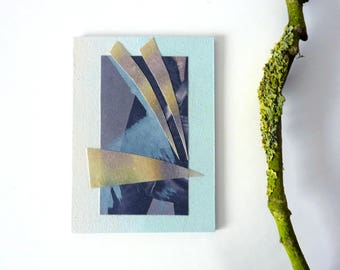 mini art on wood, small abstract, original cut-out-art, mixed media ACEO