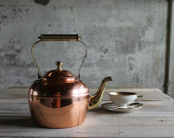 Vintage Copper and Brass Tea Pot / Kettle