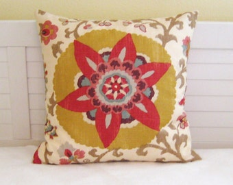 Silsila in Curry Suzani Medallion Design Pillow Cover - Square, Euro and Lumbar Pillow Sizes