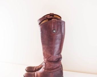 FRYE red brown leather knee high boots size 5.5 B