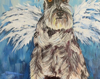 Pet portraits dog pets angel wings animal art heavenly spititual contemporary realism oil on canvas by Sandra Cutrer Fine Art