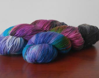 Hand Dyed Fingering Weight Superwash Merino Nylon Sock Yarn-Dark Side of the Moon 462 yards
