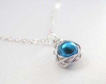 Petite Bird Nest Jewelry, 6mm Robin's Egg Blue Cultured Freshwater Pearl Egg Wire Wrapped Nest Necklace