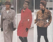 Coat Pattern Double Breasted Trench Skirt Jacket Misses Size 6 - 8 - 10 uncut Butterick 6416