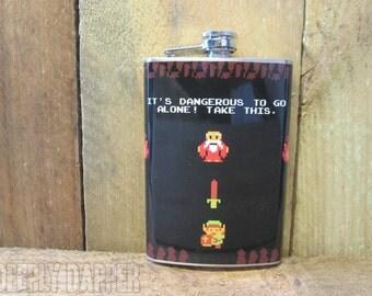 It's Dangerous Flask, Legend Of Zelda, Stainless Steel Flask, Vinyl Wrapped, Retro Gamer Gift, Link, Classic Gamer Gift