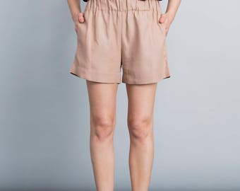 Nude pants, summer shorts, casual pants, minimal, waistband belt shorts, boho, back pocket, Casual loose fit trousers, wide leg pants