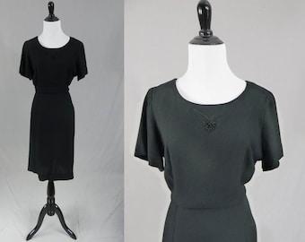 40s Black Dress - Lady Petite - Embroidery Detail - Rayon Crepe - Vintage 1940s - L