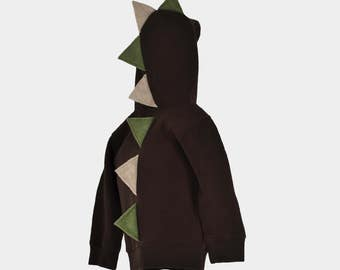 Brown Dinosaur Hoodie - Olive Green and Tan Spikes - Various sizes 18 Months Through 2T Available