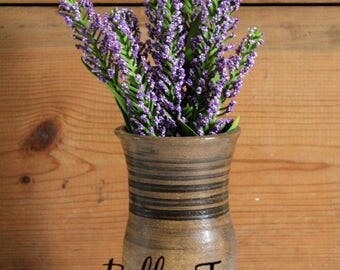 Artisan Ceramic Pottery Vase with Lavender Flowers