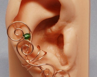 Copper and Green Ear Cuff, Fairy Ear Cuff, Coiled Swirls Ear Cuff
