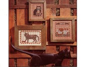 PRAIRIE SCHOOLER No. 6  Barn Cats Counted Cross Stitch 1980s c. 1984 Cat with Fish Primitive Cat Country Cat