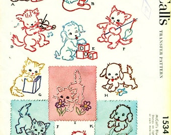 McCall's 1534 Embroidery Transfers ANIMAL ANTICS Kittens and Puppies Small and Dainty c. 1950