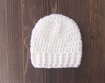 Newborn Boy Hat, Crochet Boys Hat, Newborn Boy Coming Home Hat, Baby Beanie, White Hat, Newborn Photo Prop, Boys Hat, Baby Boy Hat