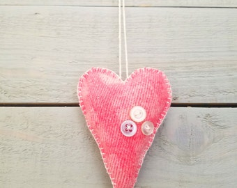 Primitive Heart Ornament- Pink with buttons