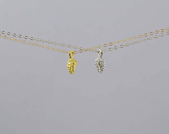 Pinecone Necklace, Gold, Silver, Antique Bronze Pinecone Necklace, Pine Cone Necklace, Pinecone Jewelry