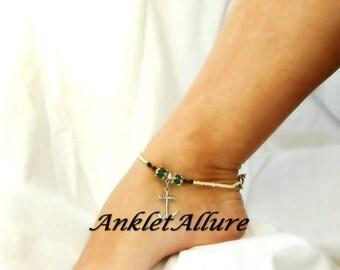 Ocean Cruise Body Jewelry Anchor Anklet Sail Away Ankle Bracelet Boat Anchor Sailor Anklet Aqua Crystal Silver Ankle Bracelet