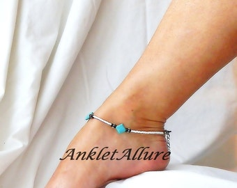 Turquoise Anklet Southwestern Ankle Bracelet Body Jewelry Cruise Vacation Beach Resort Jewelry