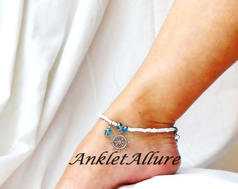 Captains Wheel Anklet Cruise Anklet Bracelet Beach Anklet Cruise Jewelry Nautical Body Jewerly  Sailing Anklet