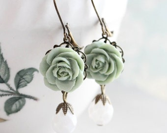 Sage Green Rose Earrings Bridesmaids Gift Idea White Faceted Glass Bead Drop Leverback Mint Green Vintage Style Antique Brass Filigree