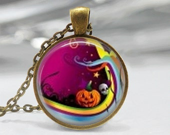 Halloween Necklace Glass Tile Necklace Halloween Jewelry Glass Tile Jewelry Pumpkin Jewelry Holiday Jewelry Silver Jewelry Pumpkin Jewelry