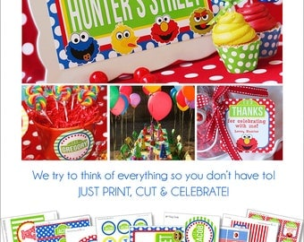 Sesame Street Party | Sesame Street Birthday Printables | Sesame Street Party Decoration | Elmo Party | 1st Birthday Amanda's Parties To Go