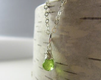 Sterling Silver Charms - Bright Green Peridot Gemstone - August Birthstone Jewelry Handmade - Wire Wrapped Gemstone Charm - Genuine Gemstone