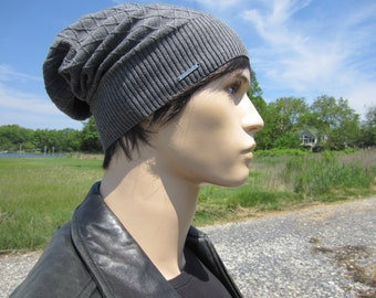 Slouchy Beanie Men's Knit Hat Gray Lightweight Summer Cotton Slouch Tam Grey Skull Cap A1699