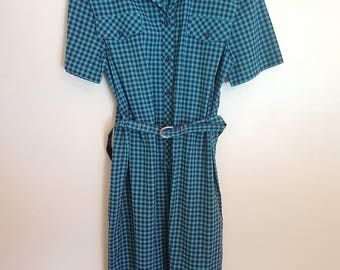 Vintage 1980's blue and green gingham secretary dress
