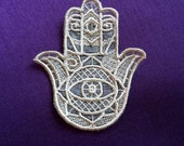 UK, cream lace Hamsa, amulet, protection charm, ward off the 'evil eye', good luck, five, right hand