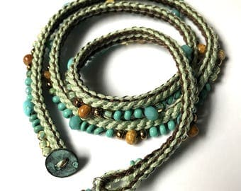 Aqua crochet beaded boho wrap bracelet / necklace, mother's day, crochet bracelet, crochet jewelry, spring, textile jewelry, coffycrochet
