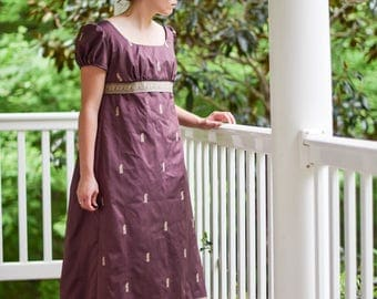 Regency Ball Gown, Jane Austen Reenactment, 19th Century Costume, Tea Dress, Royal Plum, Size Misses 10