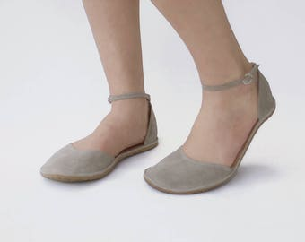flat two-piece shoes - Minimus - Handmade Leather ballet flats with ankle strap - Summerwear - CUSTOM FIT