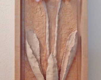 Wood Carving Wildflower, Bitter Root, carved from a single block of wood nd highlighted with acrylic paints, wood gift for any occasion
