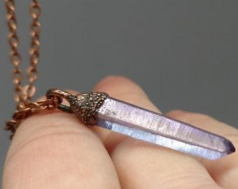 Raw Crystal Necklace - Copper Electroformed - Hippie Gifts - Crystal Jewelry - Boho - Tanzan Aura Quartz Pendant - Tanzine - Tanzanite Aura