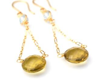 Olive Green Earrings, Luxe Blue Topaz & Natural Olive Quartz Dangle Earrings, Long Gold Olive Green Gemstone Dangles, Gift For Her