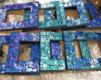 mosaic picture frames in gorgeous van gogh stained glass custom shades of blue - Mosaic Picture Frames