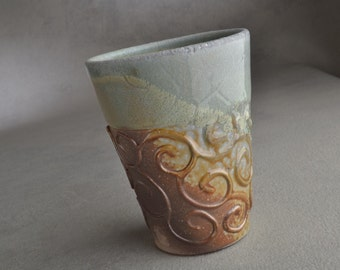 Green Curls Tumbler Ready To Ship Pale Green Porcelain Tumbler by Symmetrical Pottery