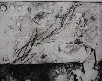 Ocean fish intaglio collograph print - one of kind hand pulled print
