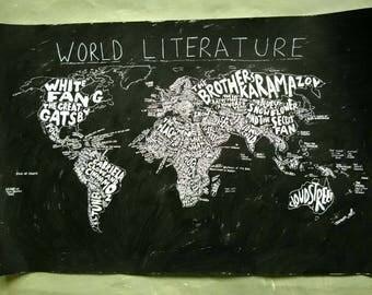 "World Literature Map No 6 -  original acrylic painting - 36"" x 24"" - custom painting"