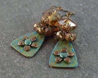 Romantic Bohemian Green Champagne Charms Glass Beads Earrings