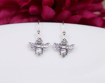 Bee Earrings - Honeybee Earrings - Bumblebee Earrings in Sterling Silver